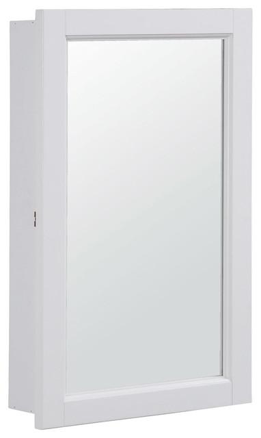 "Concord 16"" Single Door Medicine Cabinet White Gloss Finish - Transitional - Medicine Cabinets ..."