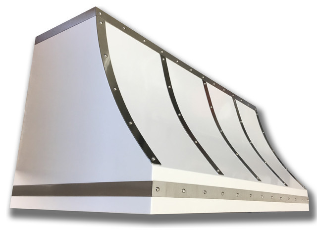 """Powder Coated White Steel Range Hood With Brushed Straps, Stainless Rivets, 36""""."""