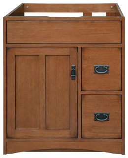 craftsman bathroom cabinets mission oak assembled vanity 1 door 2 drawers craftsman 12572