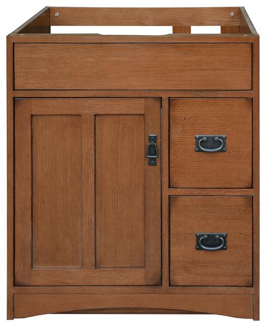 Bathroom Vanity Oak mission oak assembled vanity 1 door 2 drawers - craftsman