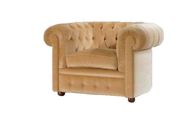 Chesterfield Chair, Off White Leather
