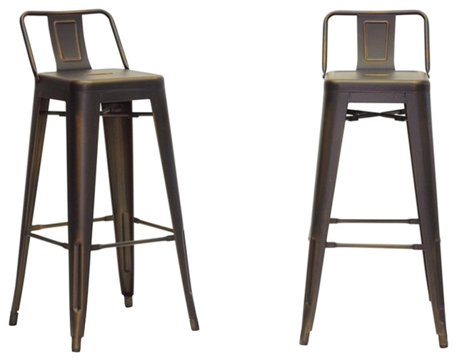 French Industrial Modern Bar Stools, Antique Copper, Set of 2