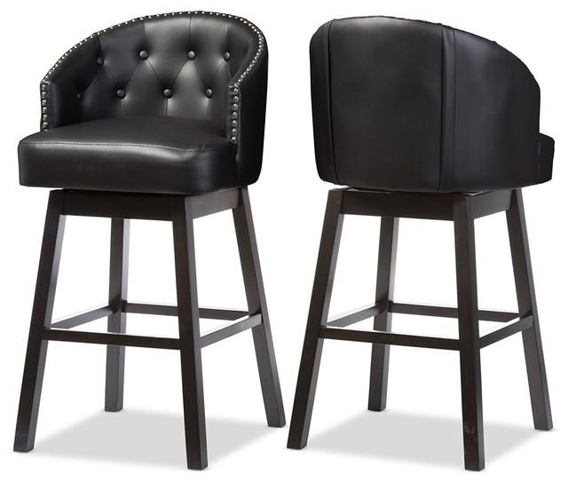 Pleasing Avril Black Faux Leather Tufted Swivel Barstool With Nail Heads Trim Set Of 2 Creativecarmelina Interior Chair Design Creativecarmelinacom