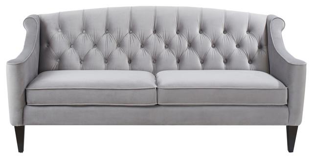 Sadie Upholstered Sofa, Opal Gray.