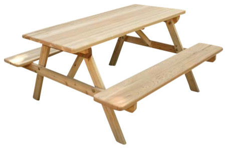 4u0027 Red Cedar Picnic Table With Attached Benches Traditional Outdoor Benches