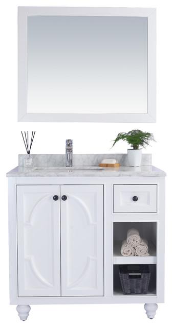"""Odyssey Single Vanity, White, White Carrara Marble, 36"""""""