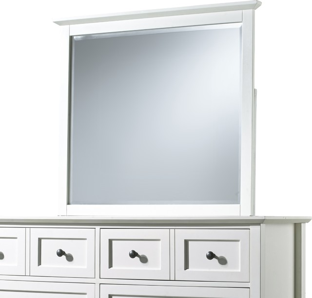 Paragon Beveled Glass Mirror, White.