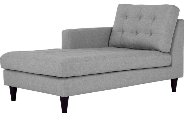 Modern Contemporary Urban Living Left Arm Chaise Lounge Chair, Gray Gray, Fabric by America Luxury