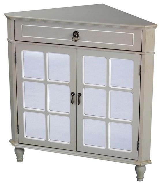 Vivian 1 Drawer 2 Door Corner Cabinet With Paned Mirror Inserts