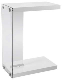 Accent Table With Tempered Glass, Glossy White