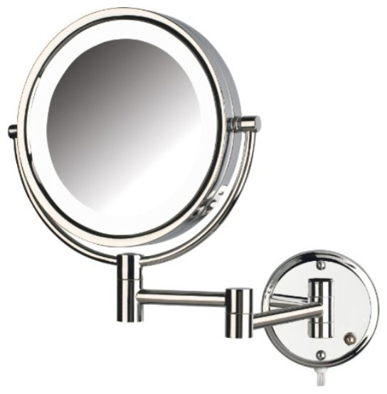 Jerdon Hl88cl 8 5 Inch Two Sided Swivel Led Lighted Wall Mount Mirror W