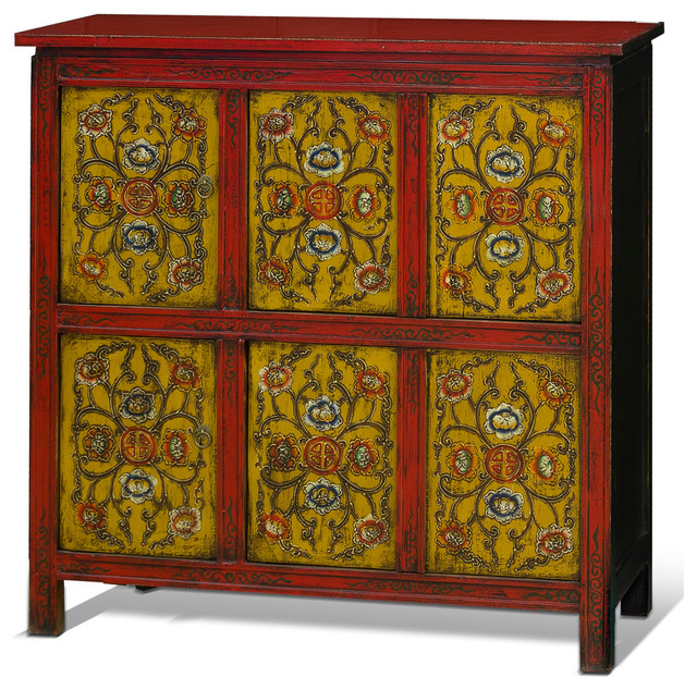 China Furniture and Arts Hand-Painted Tibetan Chest - Accent Chests And Cabinets | Houzz