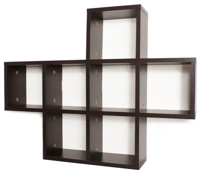 Cubby Laminated Walnut Veneer Shelving Unit Contemporary