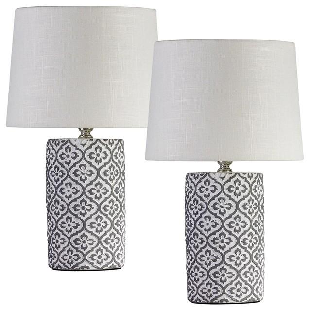 Midcentury Shamrock Table Lamps, Set of 2