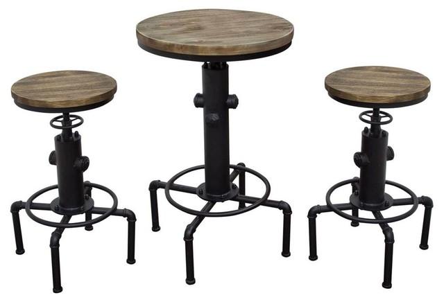 3 Piece Bistro Table Set Industrial Indoor Pub And