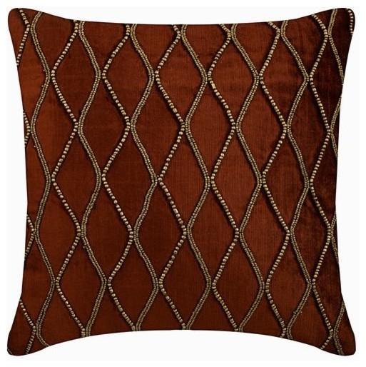 Throw Pillow Cover Gold Bead Velvet