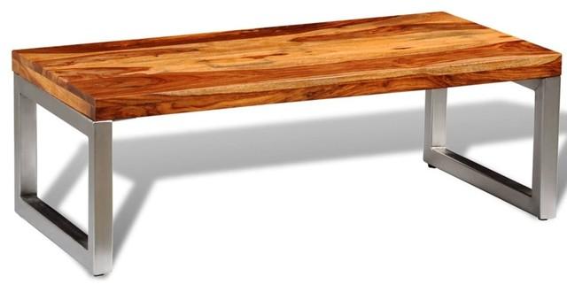 VidaXL Solid Sheesham Wood Coffee Table With Steel Legs
