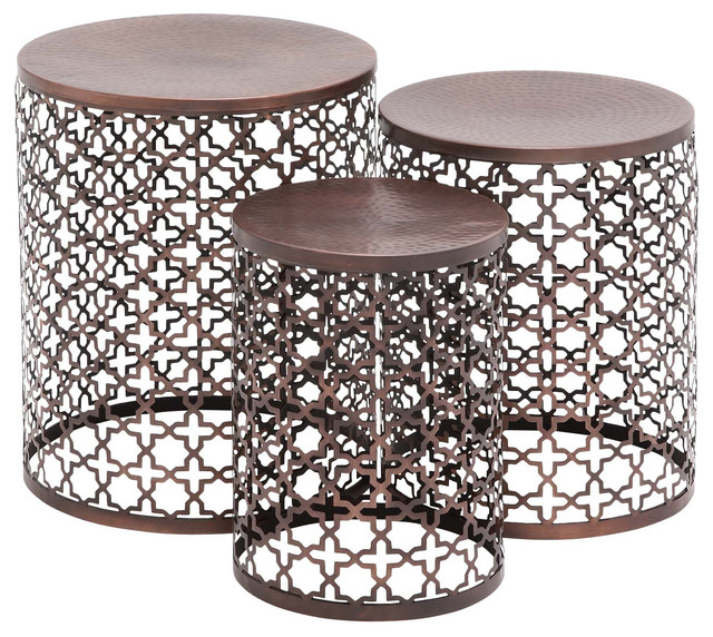 The Floral Metal Accent Tables Piece Set Mediterranean Side - Copper drum end table