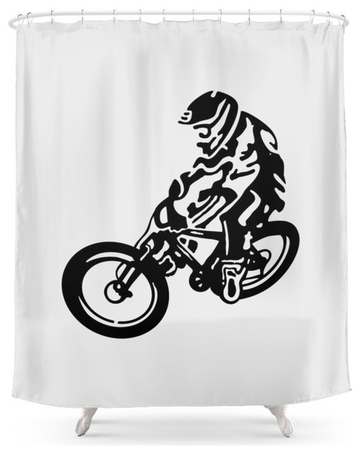 Society6 Mountain Bike Shower Curtain Contemporary Shower Curtains