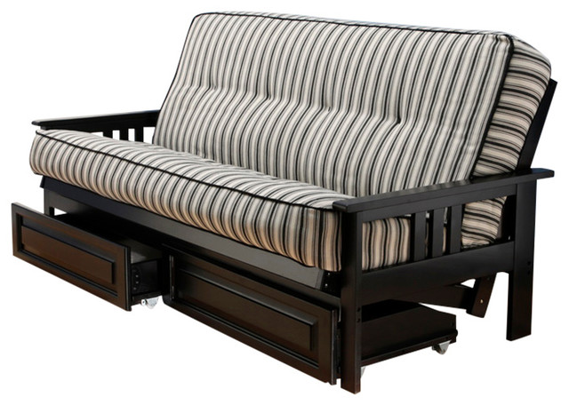 Medium image of monterey frame futon with black finish storage drawers cozumel navy craftsman futons