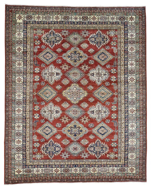 Red geometric design super kazak hand knotted rug for Geometric print area rugs
