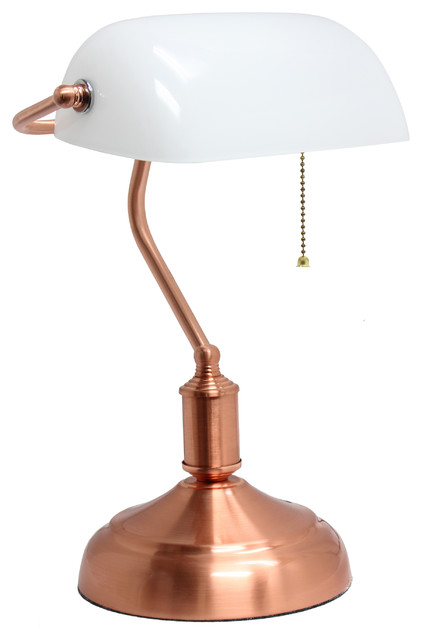 Simple Designs Executive Banker&x27;s Desk Lamp With White Glass Shade, Rose Gold.