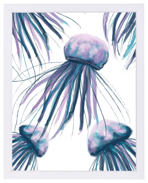 Watercolor Teal Jellyfish Beach Style Prints And Posters By Americanflat