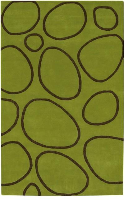 Goa Area Rug, Rectangle, Citron Green, Brown, 8'x11'