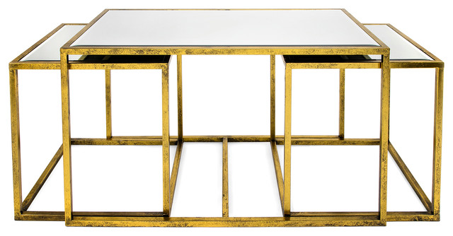 Ethan Mirror Tables, Set of 3, Gold