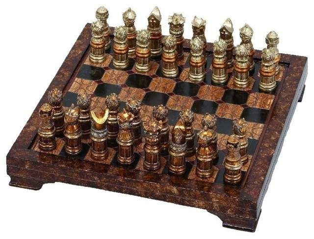 polystone chess set, 33-piece set - modern - board games and card