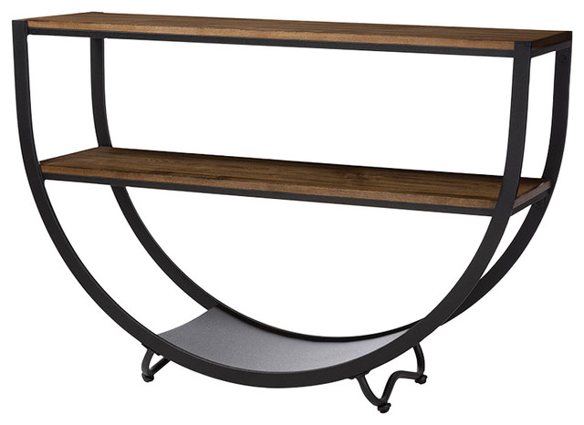 Blakes Rustic Industrial Style Antique Console Table, Black, Brown.