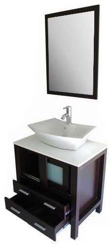 "30"" Single Bathroom Furniture Storage Wood Floor Cabinet Sink."