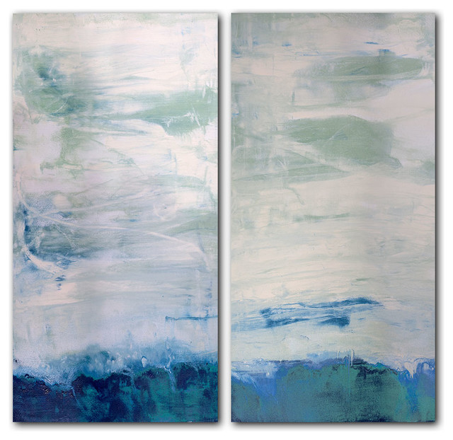 Oversized Abstract 2-Piece Canvas Wall Art - Beach Style - Prints ...