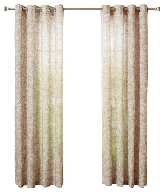 Linen Blend Paisley Watercolor Printed Curtains, Pair, Taupe, 84.