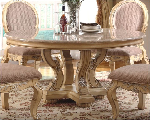 McFerran Home Furnishings - Marble Top Round Dining Table in White - MCFRD0018-6