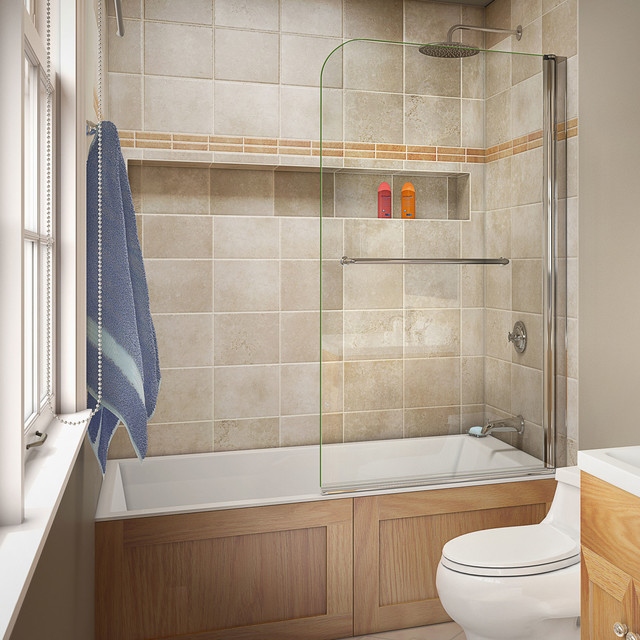 Tub Door With Clear Glass 34 X58 Modern Shower Doors By Dre