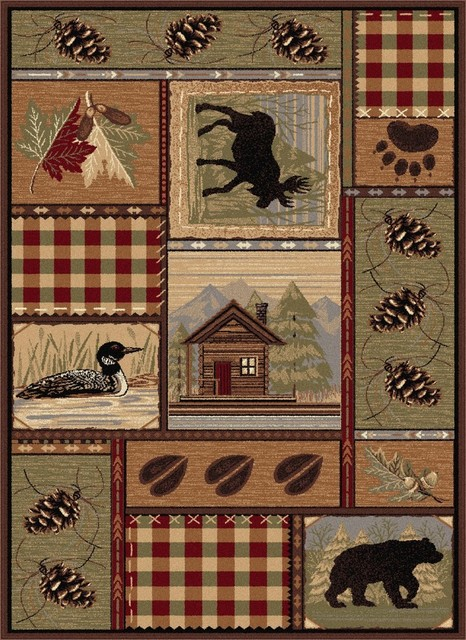 Homespun Cabin Novelty Lodge Pattern Multi-Color Rectangle Area Rug, 8&x27; X 10&x27;.