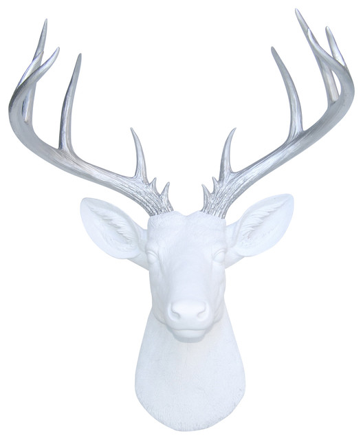Deer head wall mount 14 point stag head antlers contemporary wall sculptures by near and deer - Silver stag head wall mount ...