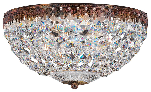 Petit Crystal 4-Light Close To Ceiling In Heirloom Bronze, Clear Spectra Crystal.