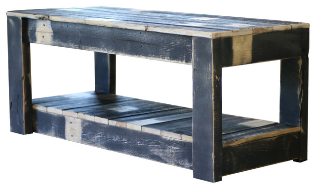Black Farmhouse, Coffee Table With Shelf.