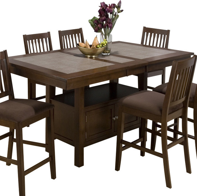 Jofran jofran 976 caleb brown tile top counter height for Traditional dining table with bench