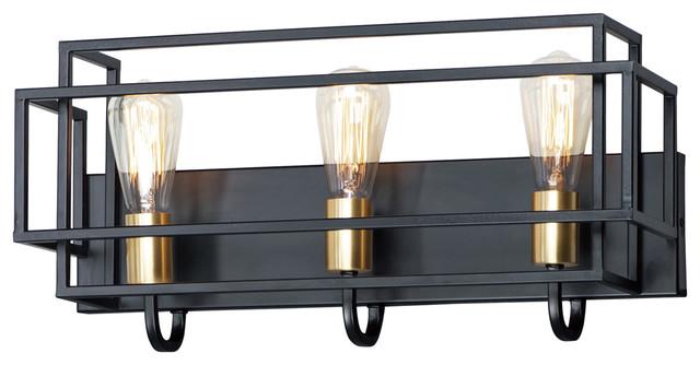 Liner 3-Light Bath Vanity in Black / Satin Brass