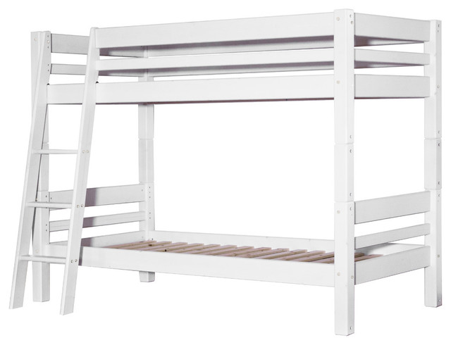 Mojo Bunk Bed With Slanted Ladder, White, Euro Single.