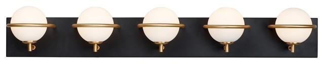 Maxim Revolve 5-Light LED Bath Vanity Light 21605SWBKGLD, Black/Gold