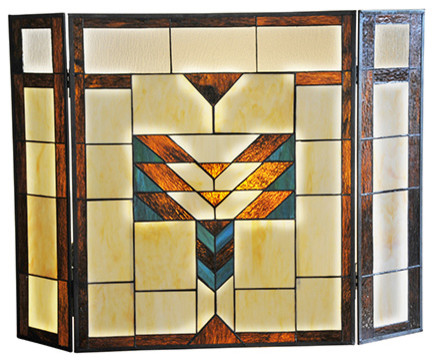 "River Of Goods 26"" Height Mission Style Stained Glass Fireplace Screen"