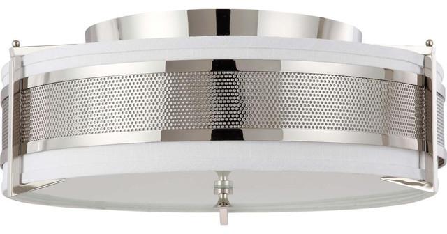 nuvo lighting diesel 4light large flush with slate gray fabric shade - Nuvo Lighting