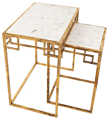 Global Archive Marble And Matte Gold Nesting Tables, Set Of 2.