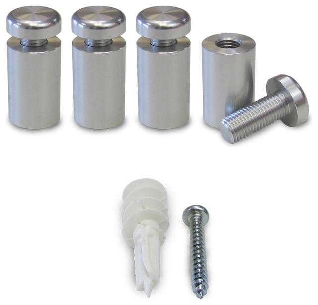 "Set of 4, 3-PART 5/8""x3/4"" Aluminum Sign Standoffs-Clear Anodized - Contemporary - Nails Screws ..."