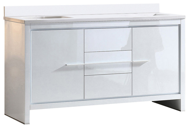 """Allier 60"""" Double Sink Bathroom Cabinet, Base: White, With Top And Sink."""