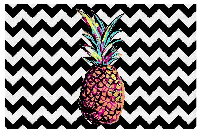 Area Rugs From DiaNoche By Organic Saturation   Party Pineapple Chevron  Contemporary Area Rugs